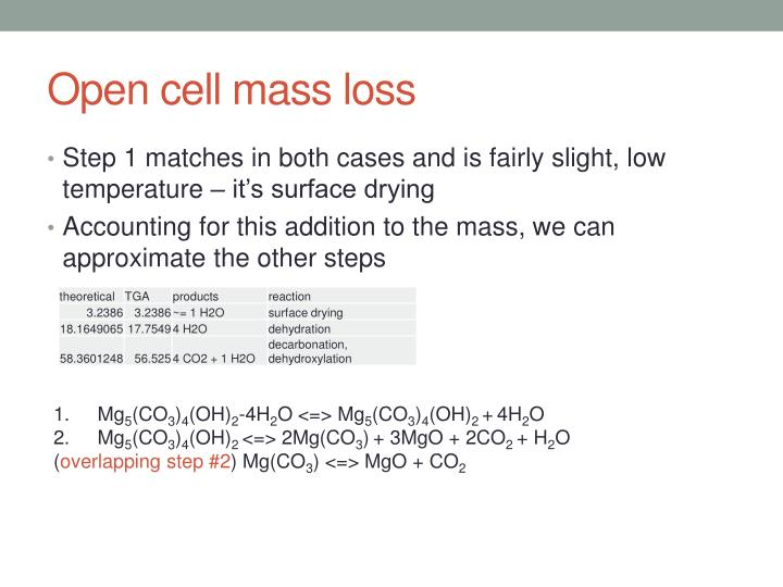 Open cell mass loss