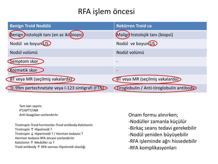 RFA işlem öncesi