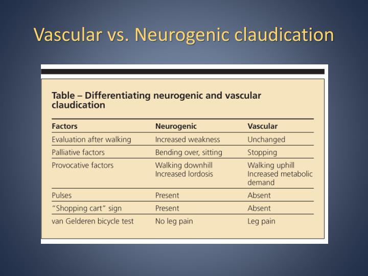 Vascular vs. Neurogenic claudication