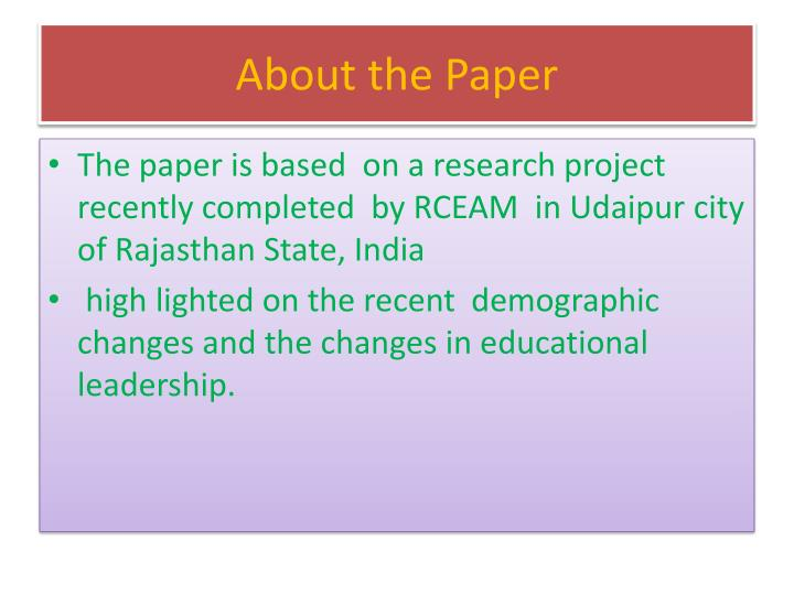 About the Paper