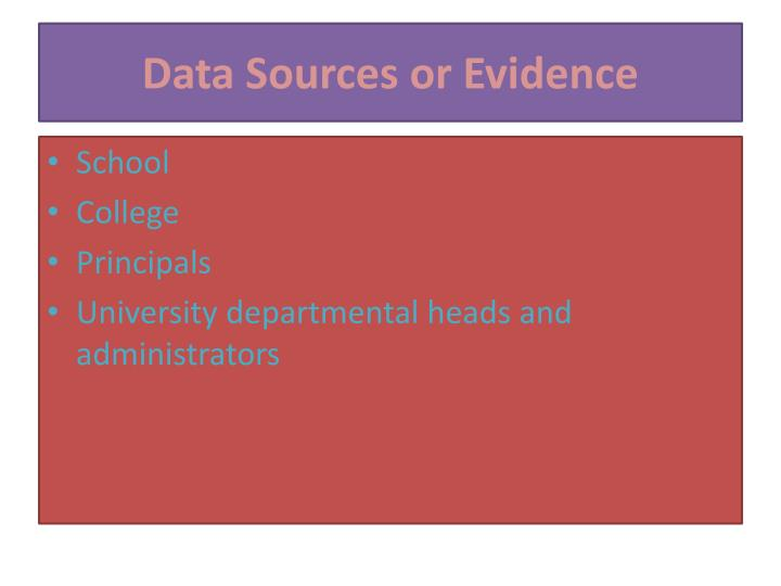 Data Sources or Evidence