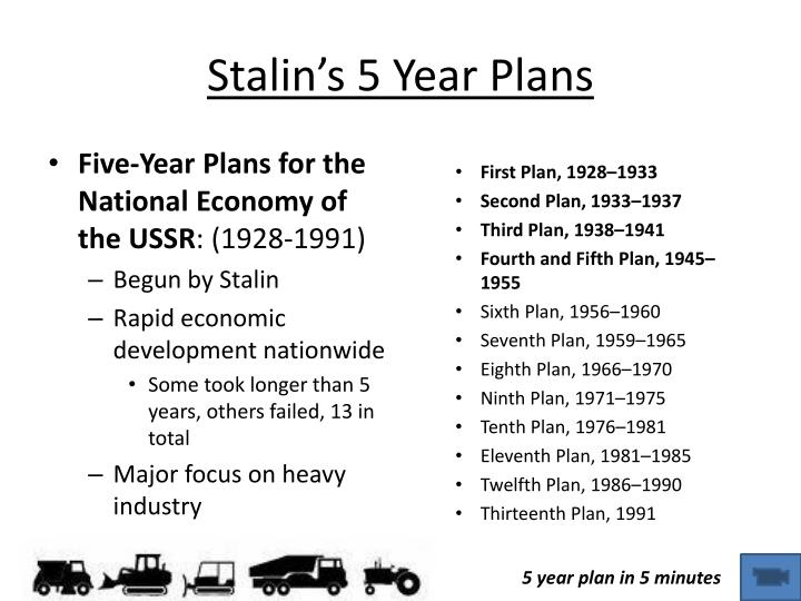 stalin and his five year plan Success & failures of stalin's five year plans therefore the actions of the ussr's most belligerent leader and his five year plan can not be considered a.