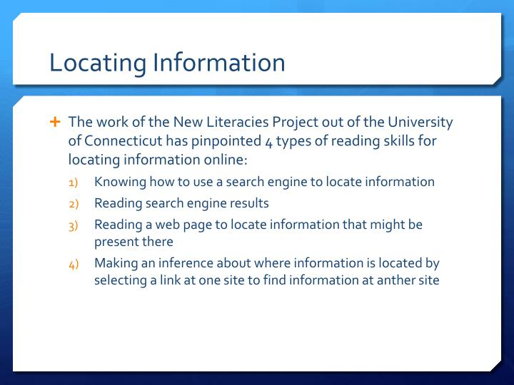Locating Information