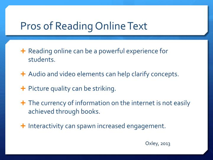 Pros of Reading Online Text