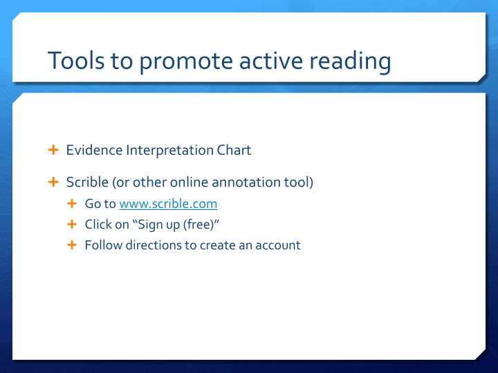 Tools to promote active reading