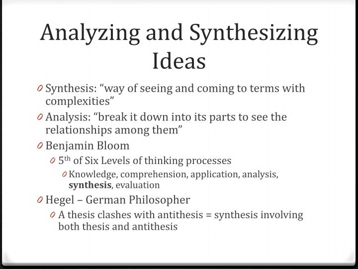 Analyzing and Synthesizing Ideas
