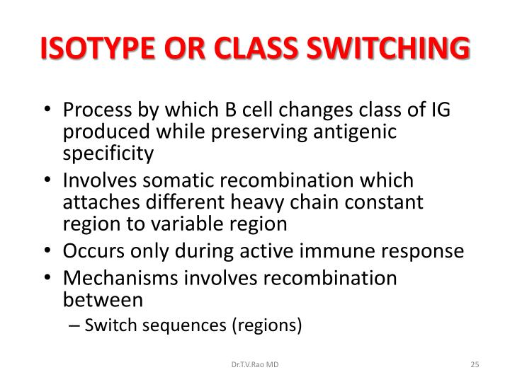 ISOTYPE OR CLASS SWITCHING