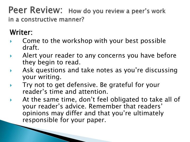 Peer Review: