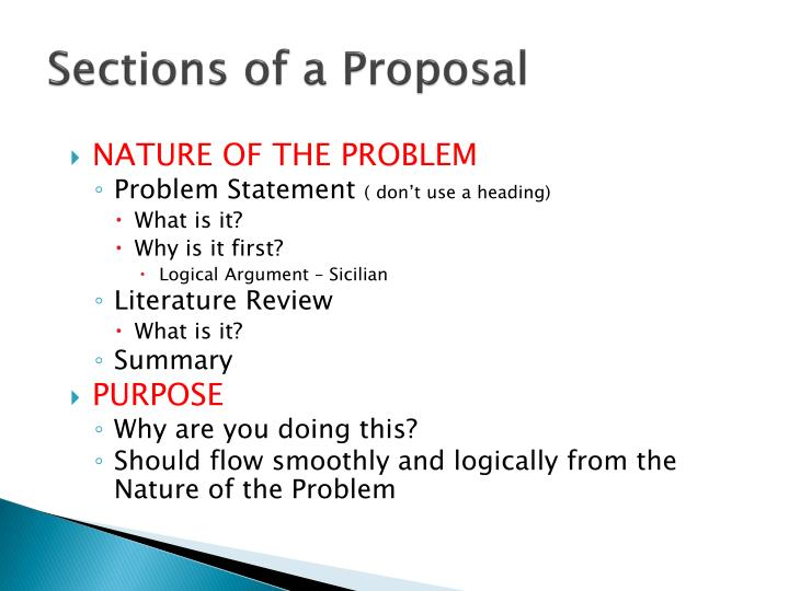 Sections of a Proposal