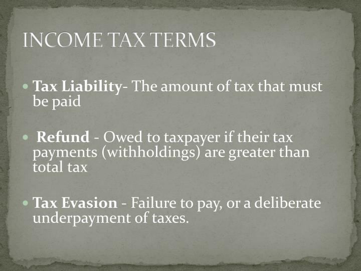 INCOME TAX TERMS