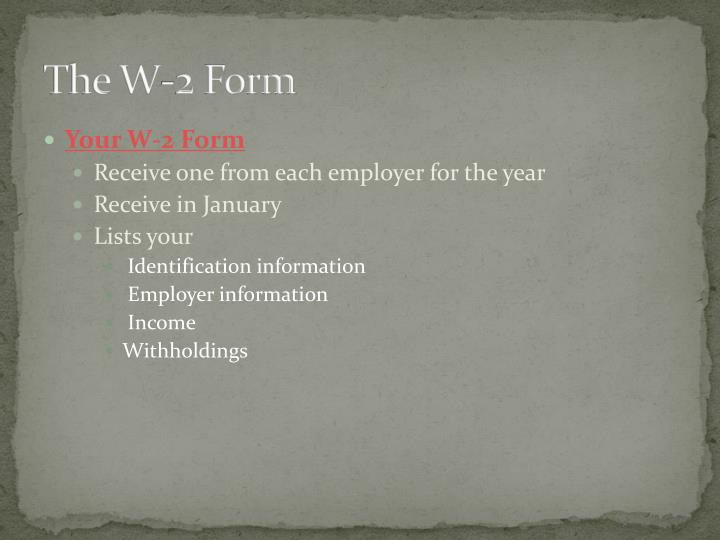 The W-2 Form