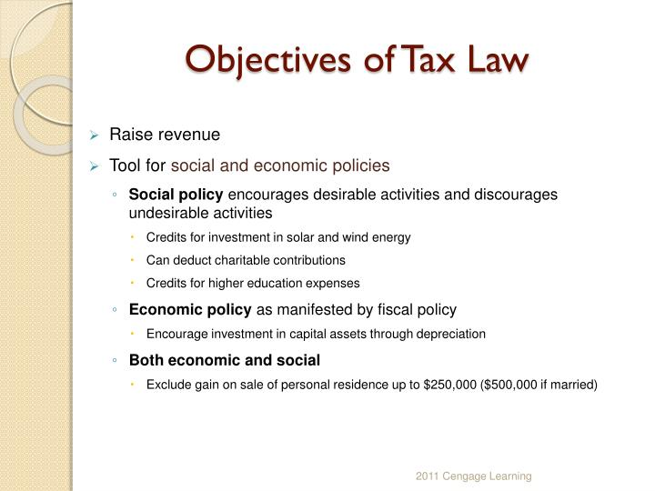 Objectives of Tax Law