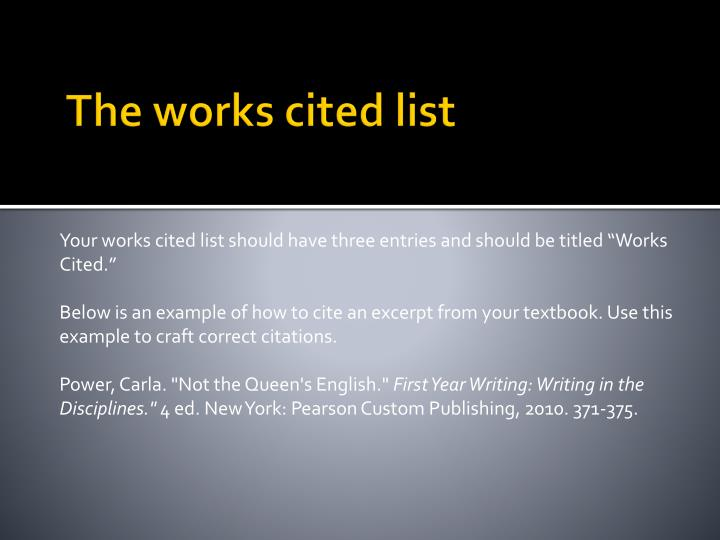 The works cited list