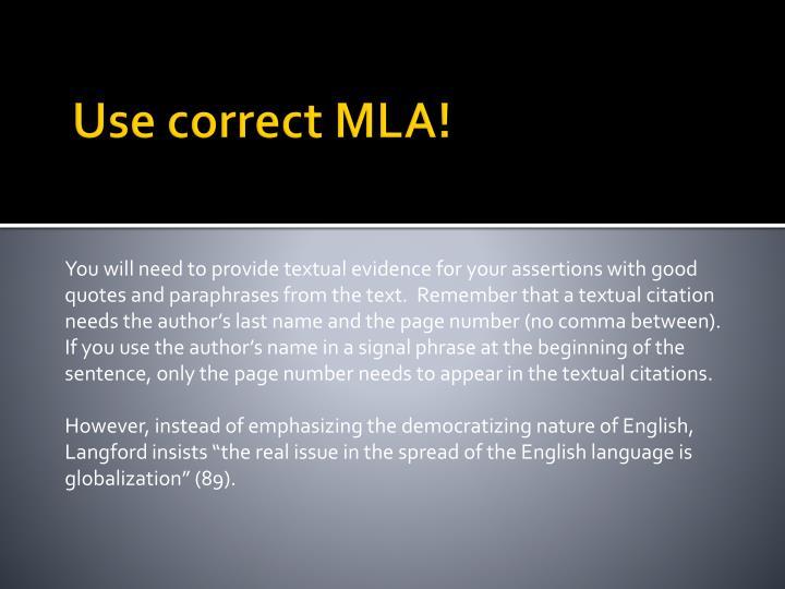 Use correct MLA!