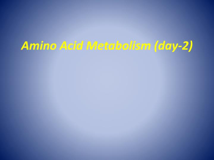 Amino acid metabolism day 2