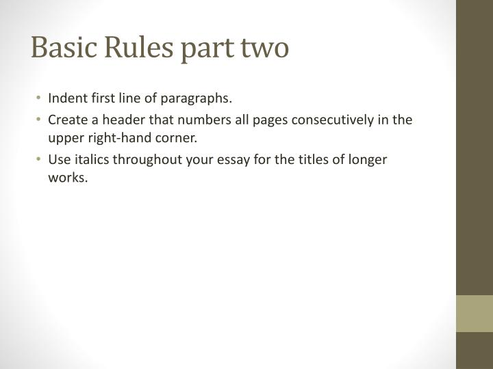 Basic rules part two