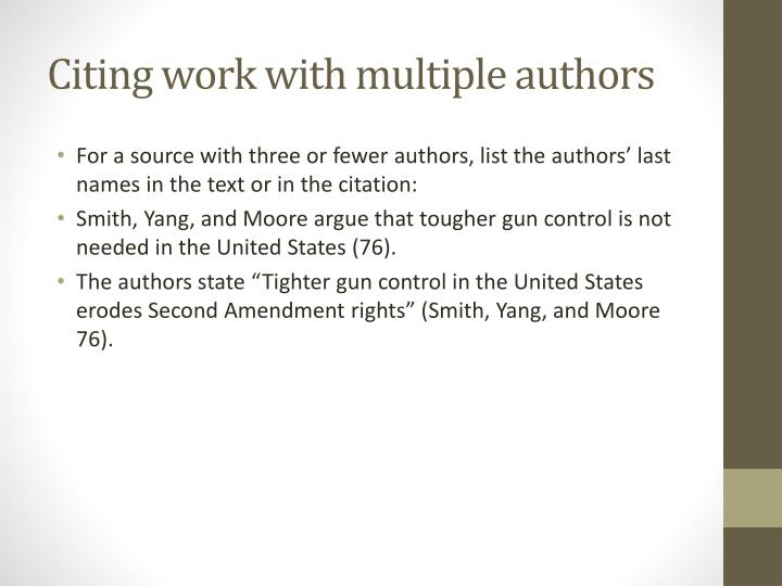 Citing work with multiple authors