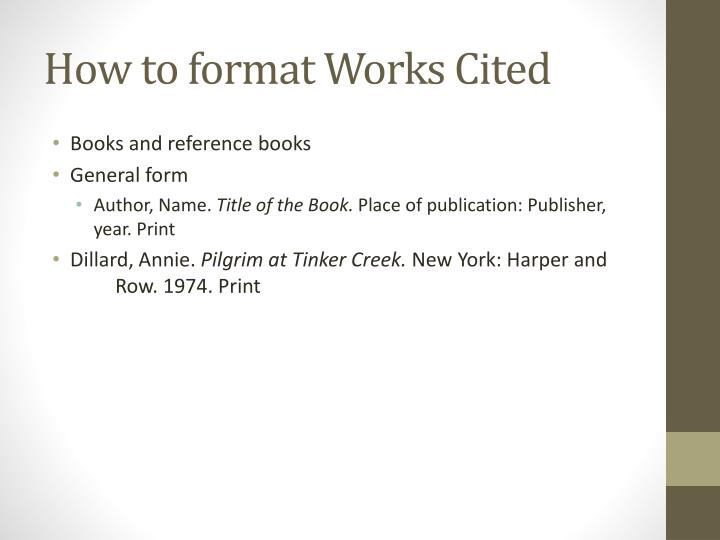 How to format Works Cited