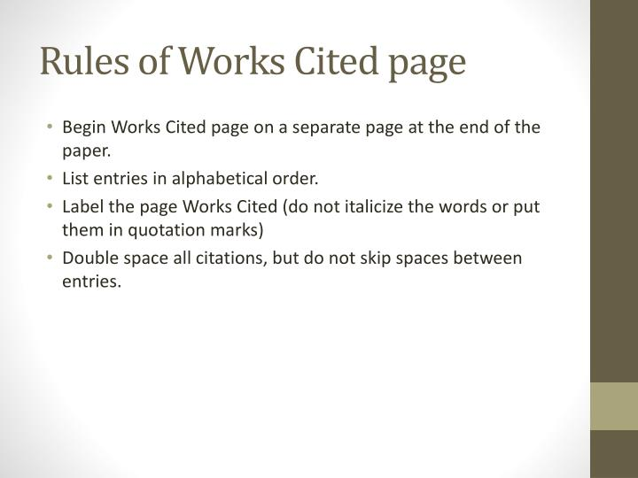 Rules of Works Cited page