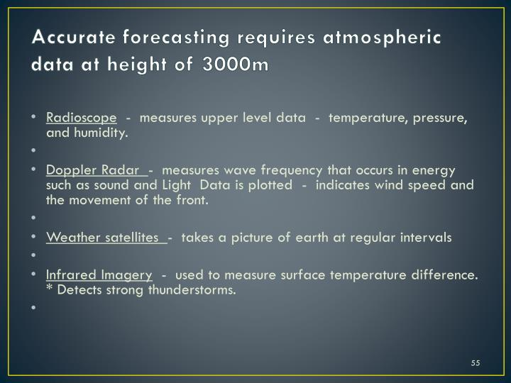 Accurate forecasting requires atmospheric data at height of 3000m