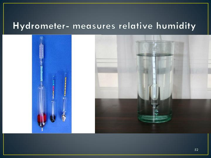 Hydrometer- measures relative humidity