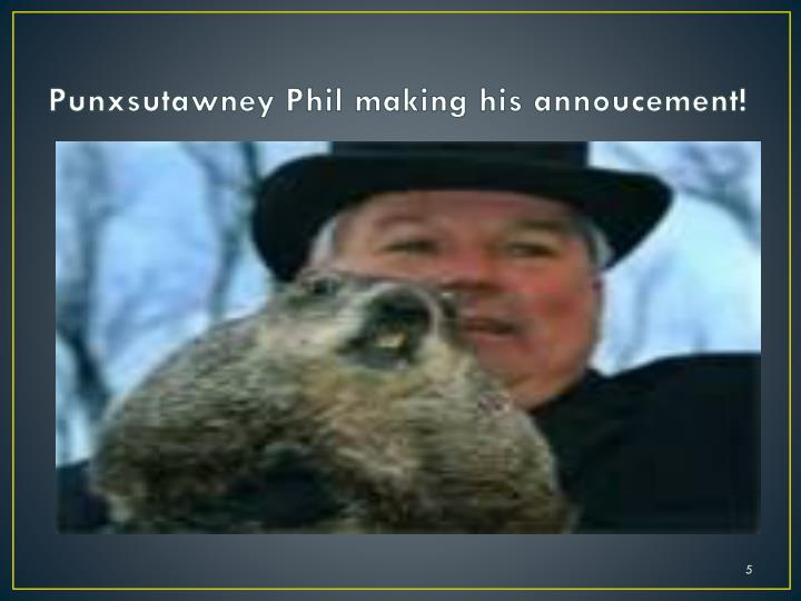 Punxsutawney Phil making his