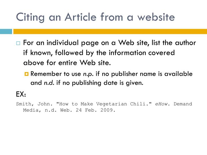 Citing an Article from a website