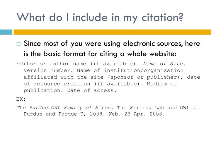 What do I include in my citation?