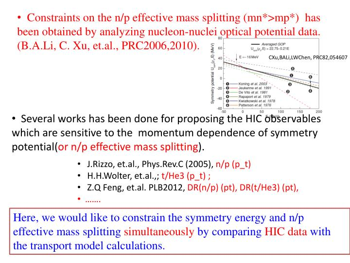 Constraints on the n/p effective mass splitting (