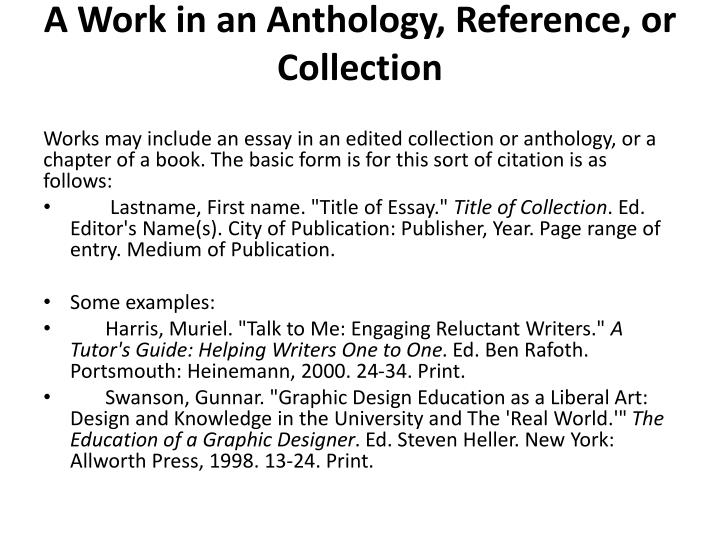 A Work in an Anthology, Reference, or Collection