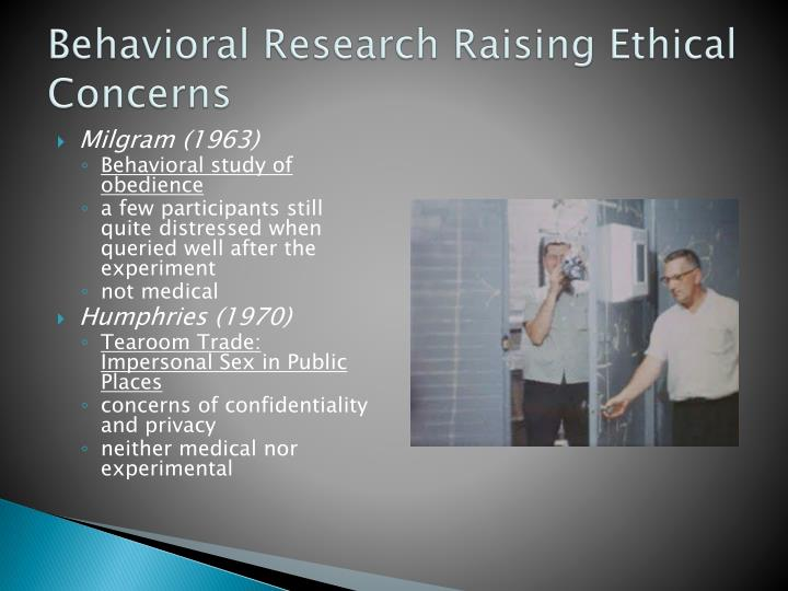 Behavioral Research Raising Ethical Concerns