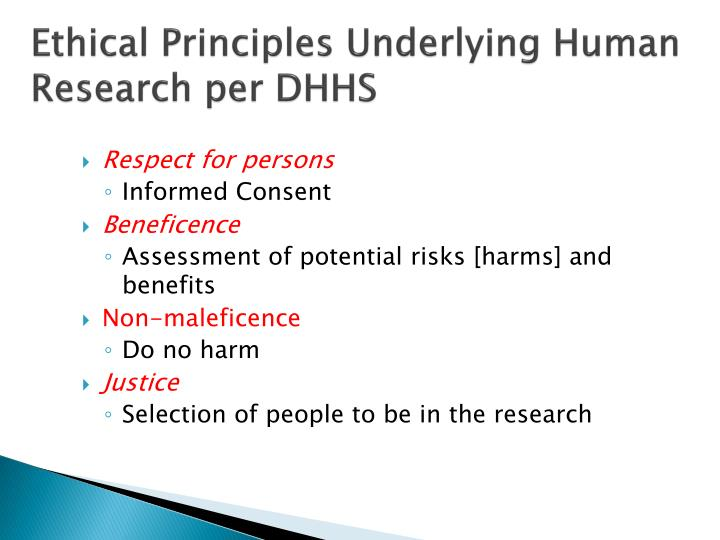 Ethical Principles Underlying Human Research per DHHS