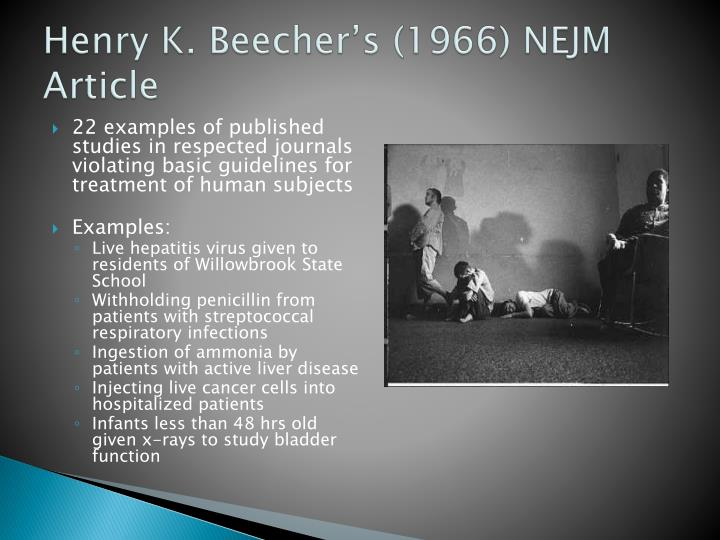 Henry K. Beecher's (1966) NEJM Article