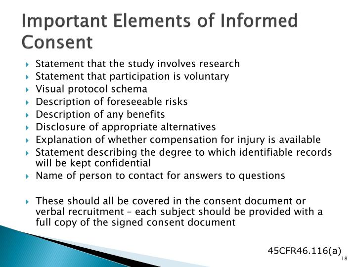 Important Elements of Informed Consent