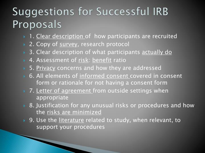 Suggestions for Successful IRB Proposals