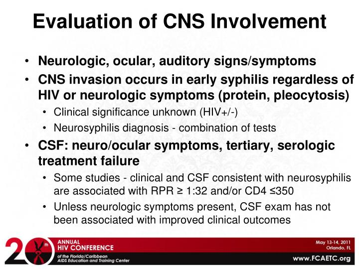 Evaluation of CNS Involvement