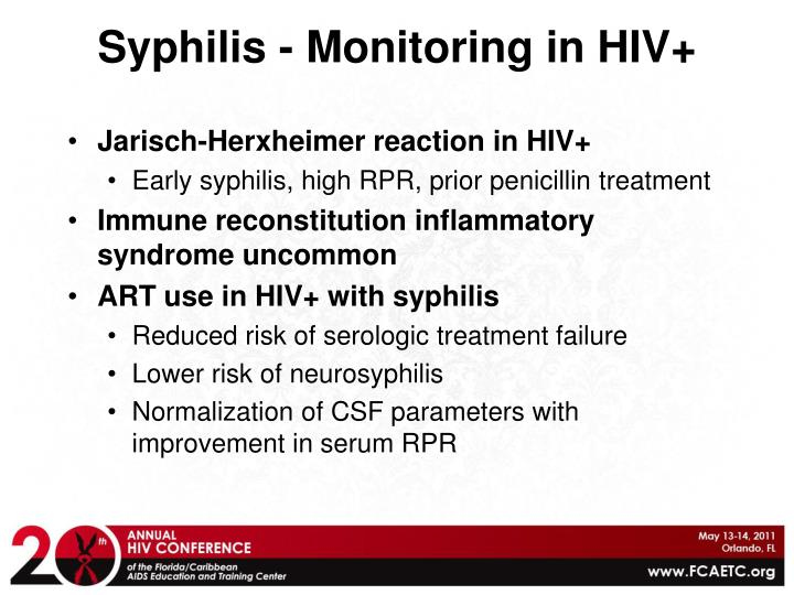 Syphilis - Monitoring in HIV+