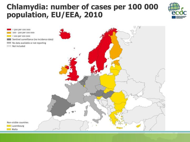 Chlamydia: number of cases per 100 000 population, EU/EEA, 2010