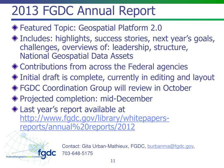 2013 FGDC Annual Report