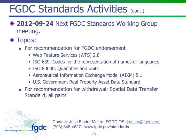 FGDC Standards Activities