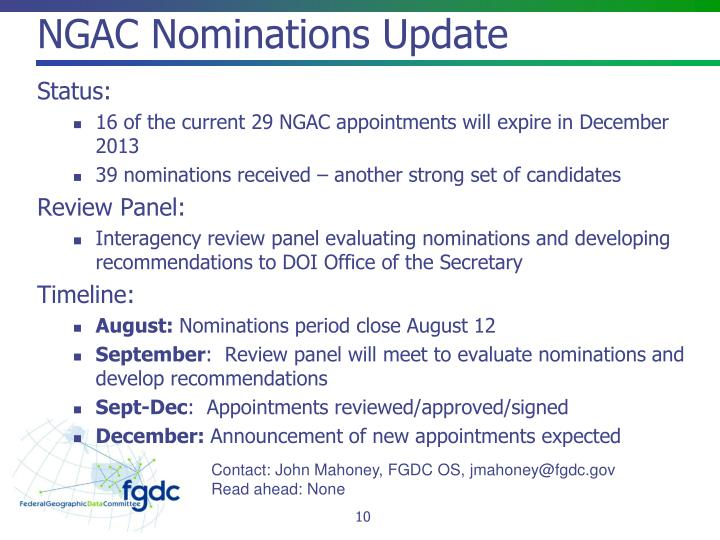 NGAC Nominations Update