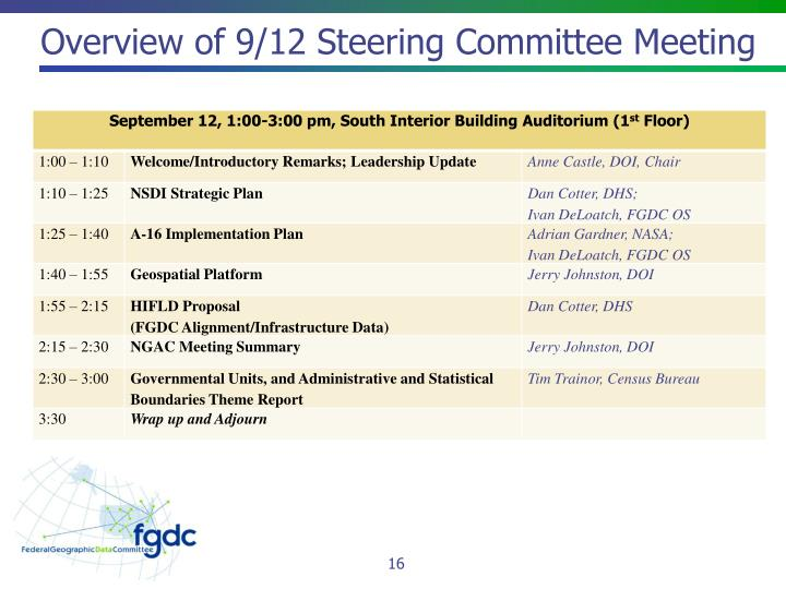 Overview of 9/12 Steering Committee Meeting