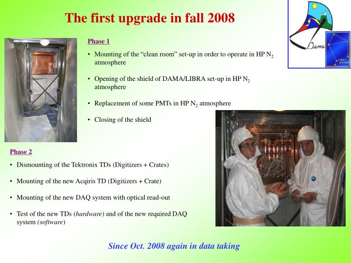 The first upgrade in fall 2008