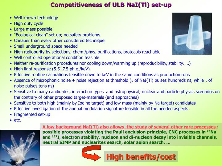 Competitiveness of ULB NaI(Tl) set-up