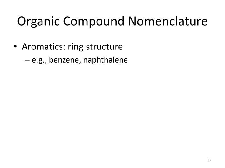 Organic Compound Nomenclature