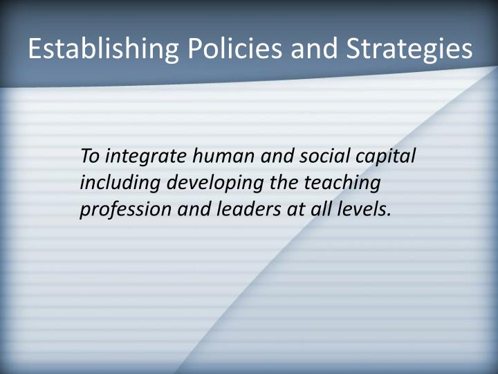 Establishing Policies and Strategies