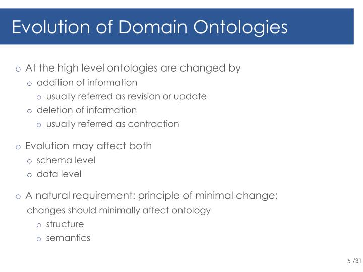 Evolution of Domain Ontologies