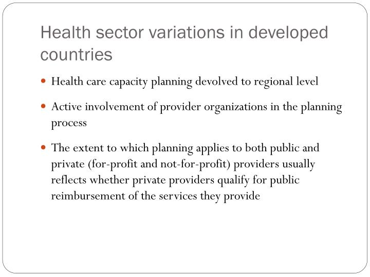 Health sector variations in developed countries