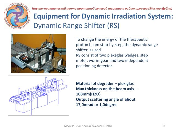 Equipment for Dynamic Irradiation System: