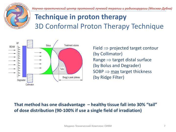 Technique in proton therapy